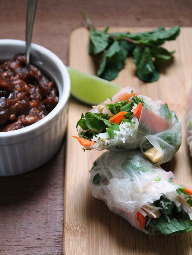 Fresh Shrimp Spring Rolls with spicy peanut sauce via JennySheaRawn.com
